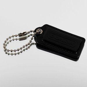 2″ Medium COACH BLACK PATENT LEATHER KEY FOB BAG